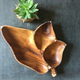 Hand-painted wood leaf bowl, updated vintage decor