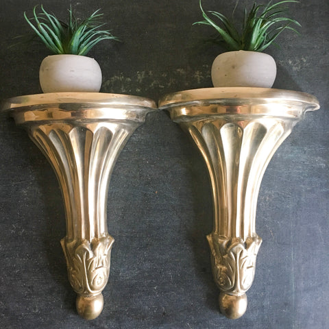 Brass Wall Sconce Shelves Vintage Art Deco Style