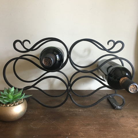 Vintage Wrought Iron Wine Rack