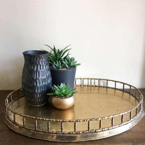 Large Brass Bamboo Style Oval Tray - Hollywood Regency