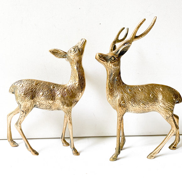 Pair of Deer, Vintage Brass Buck and Doe