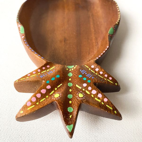 Vintage Wood Pineapple Bowl with Tropical, Bohemian Hand Painted details