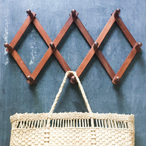 Vintage Wood Peg Rack - Hanging Accordion Rack