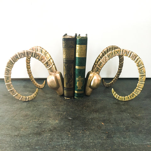 Brass Ram Head Bookends, Vintage Dolbi Cashier, Hollywood Regency