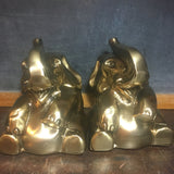 Vintage Brass Tone Happy Elephant Bookends