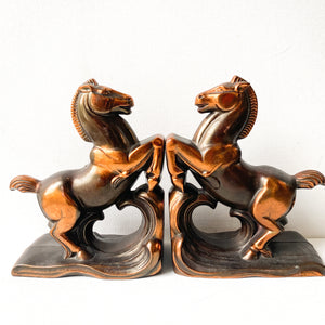 Vintage Art Deco Horse Bookends, Rearing Stallion, Copper and Bronze Tone