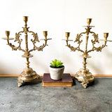 French Rococo Style Candelabra, Pair of Vintage Brass Candle Holders