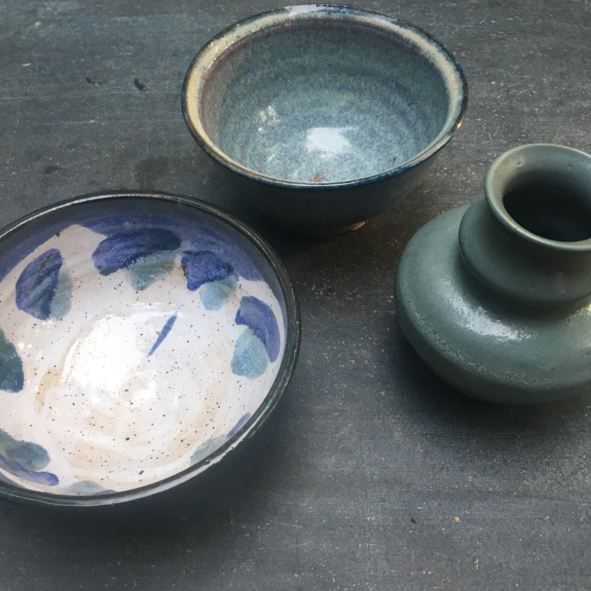 Studio Pottery Lot Vintage Trio of Studio Pottery in shades of blue
