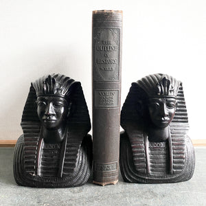 Vintage Egyptian Bookends, King Tut Pharoah Busts