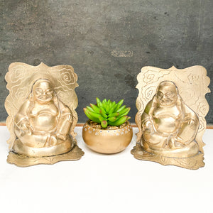 Vintage Brass Buddha Bookends