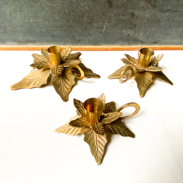 Vintage brass pointsetta candle holder set