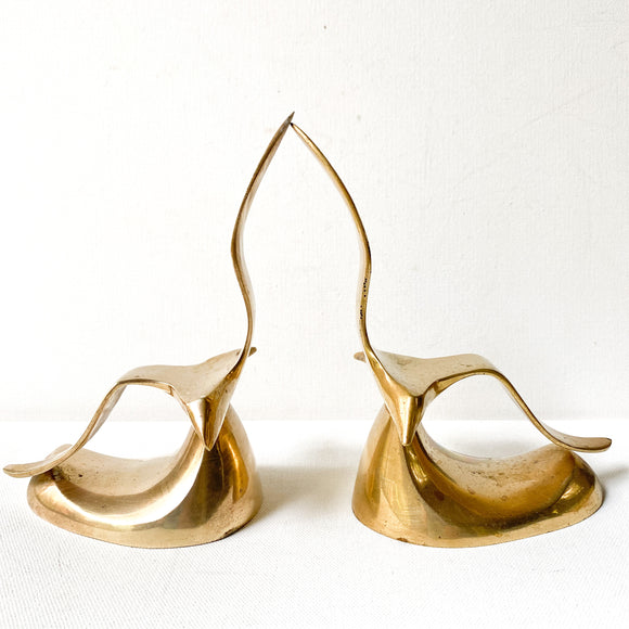 Vintage Brass Mid Century Seagull Bookends
