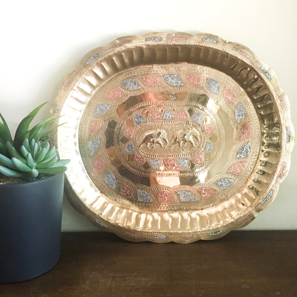Vintage brass tray with elephant motif