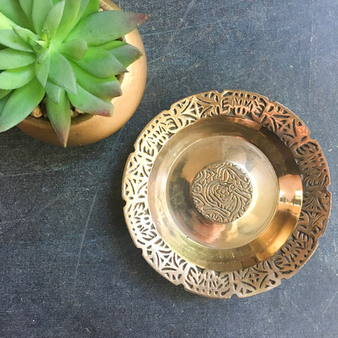 Vintage Brass Trinket Tray
