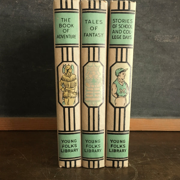 Vintage Young Folks Library, Set of 3, The Book of Adventure, Tales of Fantasy, Stories of School and College Days