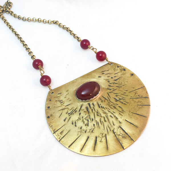 Bohemian Statement Jewelry, Carnelian Shield Necklace