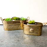 Vintage Brass Planters, Set of 2