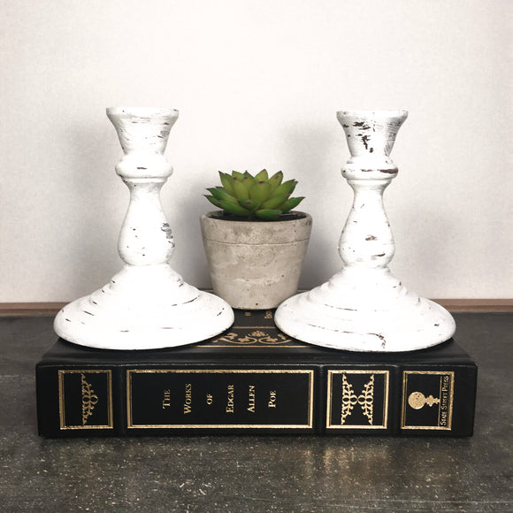 Farmhouse Candlestick Holders Vintage Upcycled Whitewash Wood Candlestick Holders