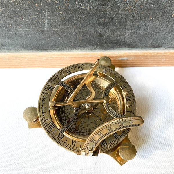 Brass Sundial and Compass, Nautical Decor, Navigation