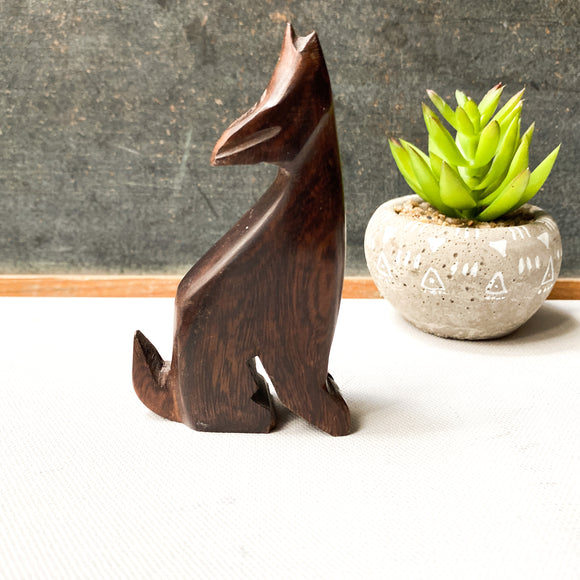 Handmade Carved Ironwood Wolf / Coyote Figurine