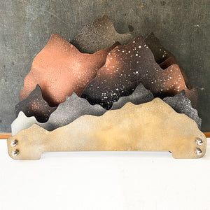 Mountain Sculpture, Office Organizer, File Folder Holder, Mixed Metallic Decor
