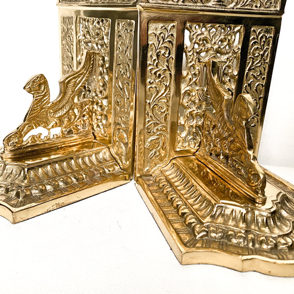 Gothic Brass Griffin Bookends, Vintage Library Decor