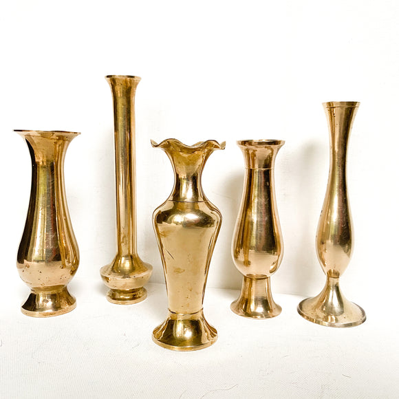 Vintage Brass Vases, Set of 5