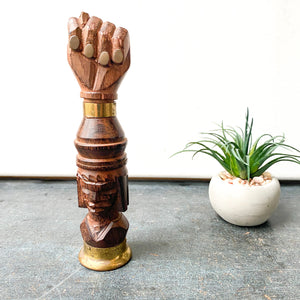 Figa Fist Sculpture, bottle opener, corkscrew, Wood bohemian decor