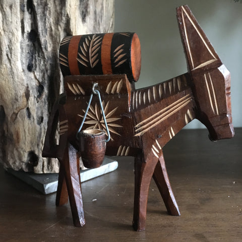 Vintage wood carved mule / donkey