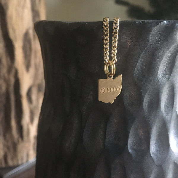Gold Ohio Charm Necklace - OHIO stamped