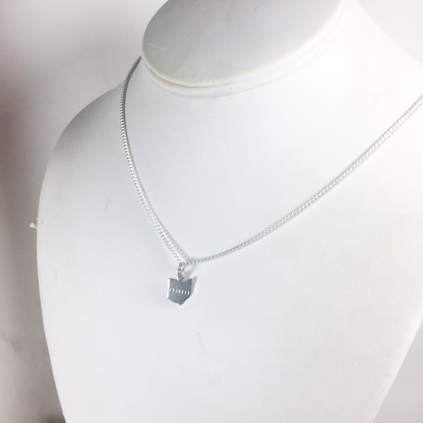 Silver Ohio stamped charm necklace