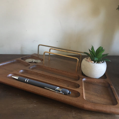 Wood Organizational Tray - Midcentury Walnut Wood Valet Tray