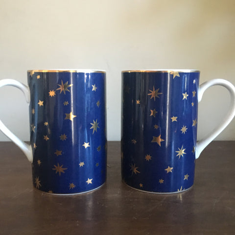 Pair of Sakura fine porcelain Galaxy Mugs with 14k gold details
