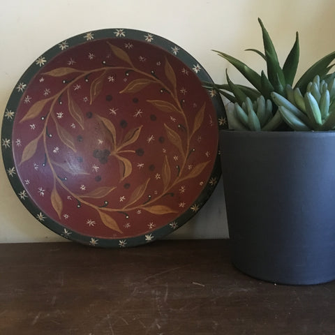 Painted Primitive Wood Bowl