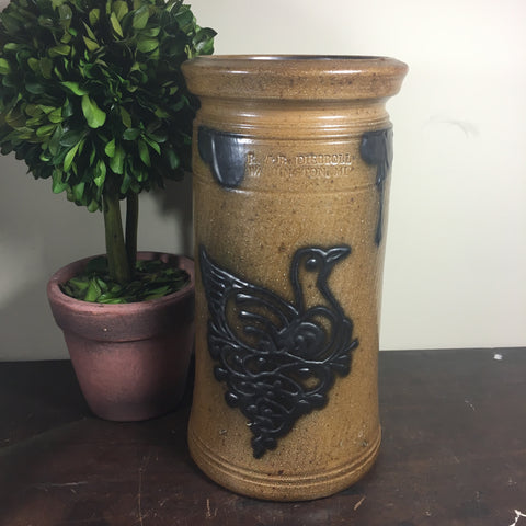 R. & B. Diebboll Stoneware Crock with Bird Motif