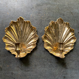 Vintage Brass Scalloped Wall Sconces, Hollywood Regency Style, Mid Century Decor