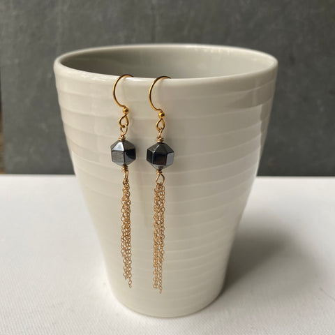 Hematite and Gold Chain Fringe Earrings