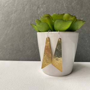 Textured Brass Triangle Earrings