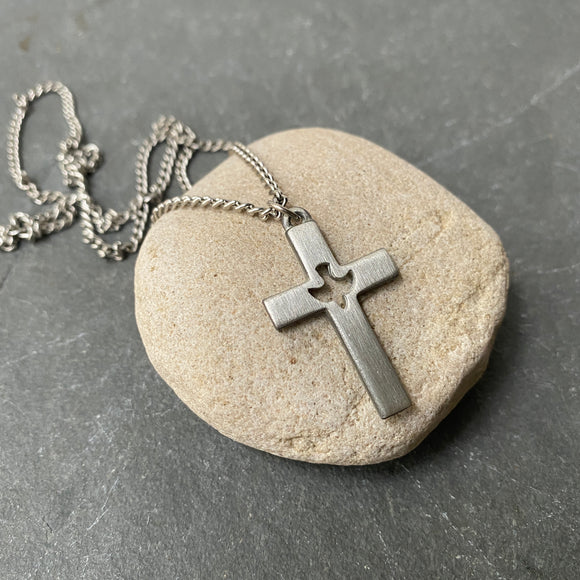 Vintage Pewter Cross Necklace