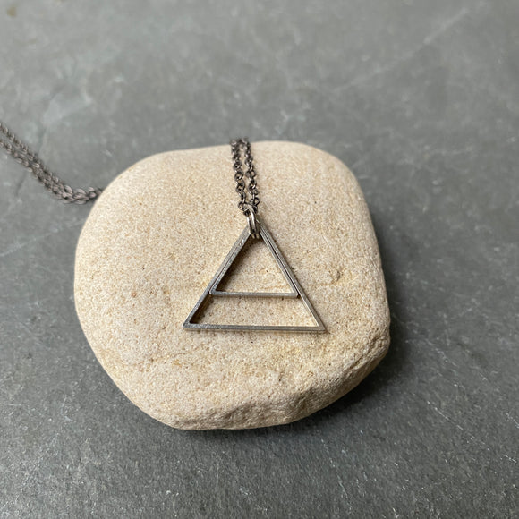Double Triangle Geometric Necklace