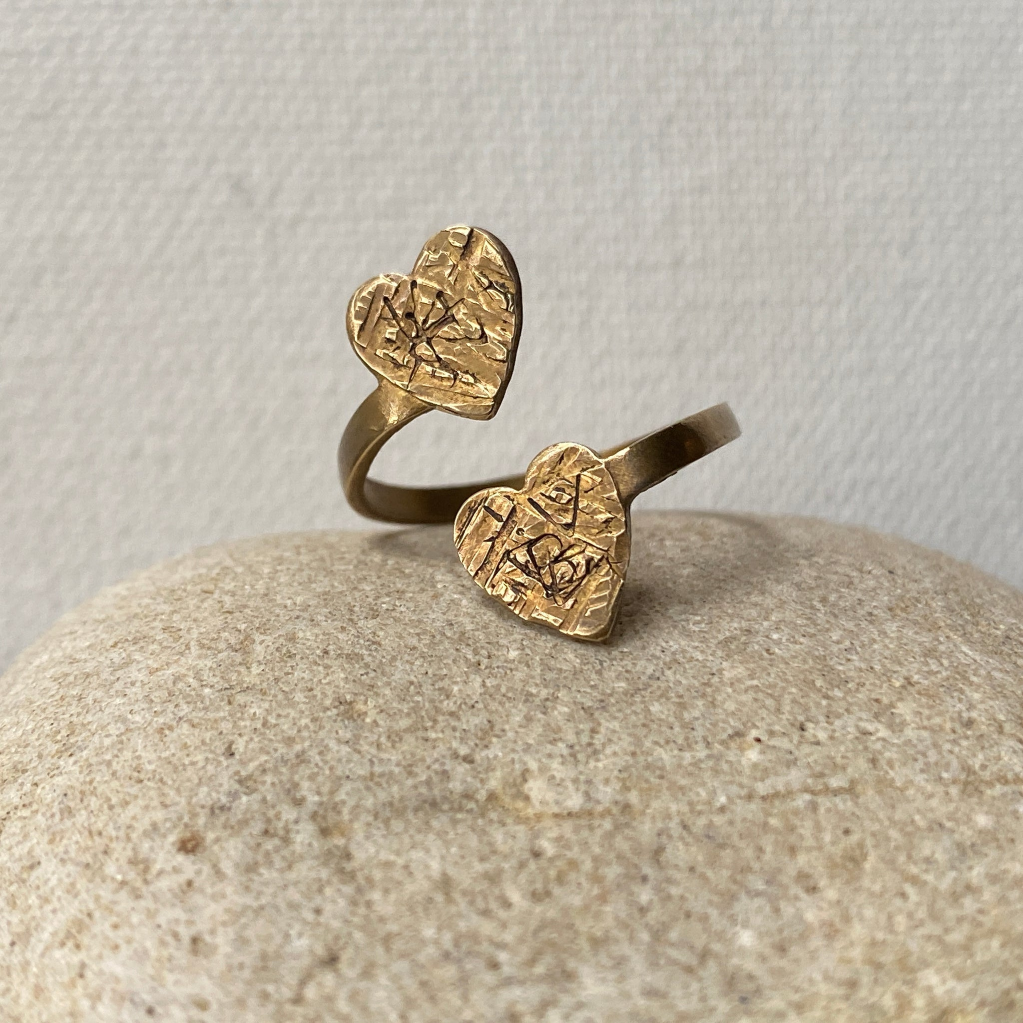 Adjustable Heart Ring with Textured Finish