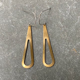 Brass open teardrop earrings