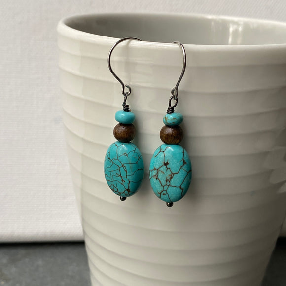 Howlite Teardrop Earrings