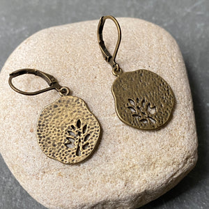 Rustic Antique Brass Leaf Earrings, Leverback Style