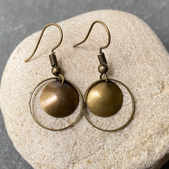 Antiqued Brass Hoop Earrings