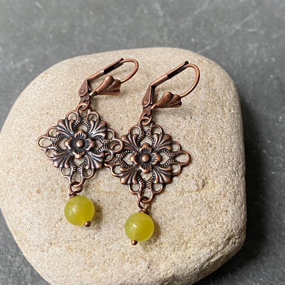Copper Filigree and Jade Earrings