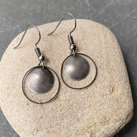 Oxidized Silver Hoop Earrings