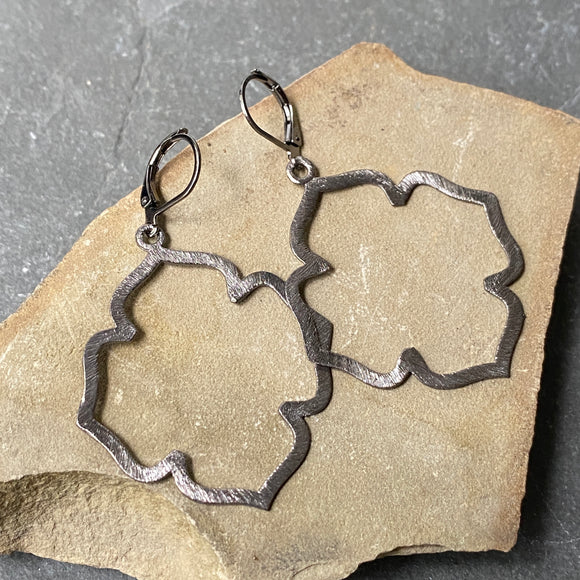 Oxidized Clover Earrings