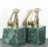 Marble and Brass Bear Bookends