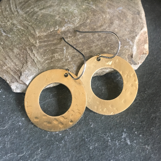 Hammered Brass Hoop Earrings